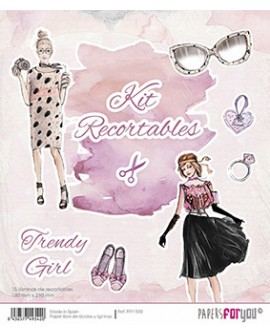 KIT RECORTABLES 15 PAPELES TRENDY GIRL