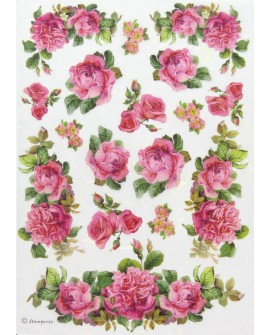 PAPEL DE ARROZ A4 ROSAS COLORES
